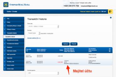Evropsko-ruská banka. Majitele účtu zjistíte přes internetové bankkovnictví.