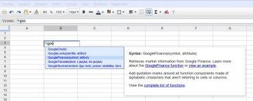 Google Spreadsheet našeptávač