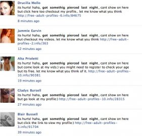 Falešné profily odkazující na internetovou seznamku. Zdroj: All Facebook.