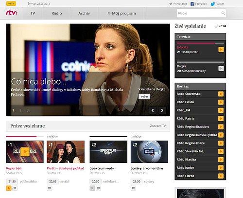 Ukázka z nové podoby webu Rozhlasu a televize Slovenska, který je prozatím v betaverzi.