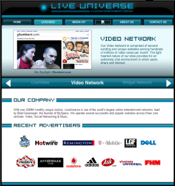 LiveUniverse.com z roku 2010 (zdroj: Internet Archive)