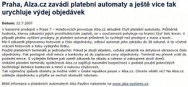 Tisková zpráva z 22. července 2007.
