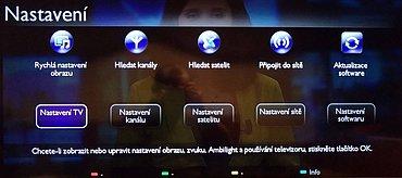 Z domácího menu se dostanete i do Nastavení, což nějaký čas trvá, protože v menu se nedá kolovat a vždy se zobrazí na položce Sledování TV. V Nastavení vidíte v horní řadě okamžité operace, ve spodní je vstup do menu pro úpravu dalších parametrů.