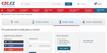 E-shop CZC.cz používá velmi nevýraznou volbu pro jednorázový nákup (v náhledovém obrázku vpravo dole).