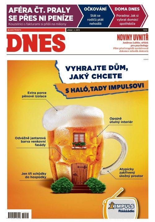 Dnešní titulka deníku MF DNES, na níž Mafra poutá i na článek týkající se sponzoringu Česká televize.