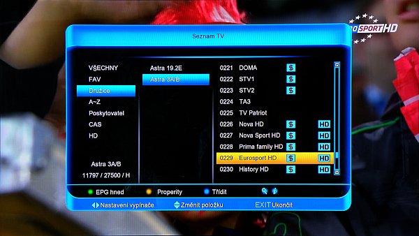 V seznamu TV můžeme editovat uložené kanály což je patrné z obrázku