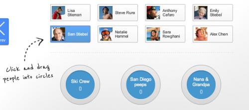 Google Plus a Kruhy přátel - stačí vzít myší ikonku člověka a přetáhnout jej do správného kruhu.