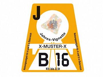 Rakouská dálniční známka pro rok 2016 s roční platností