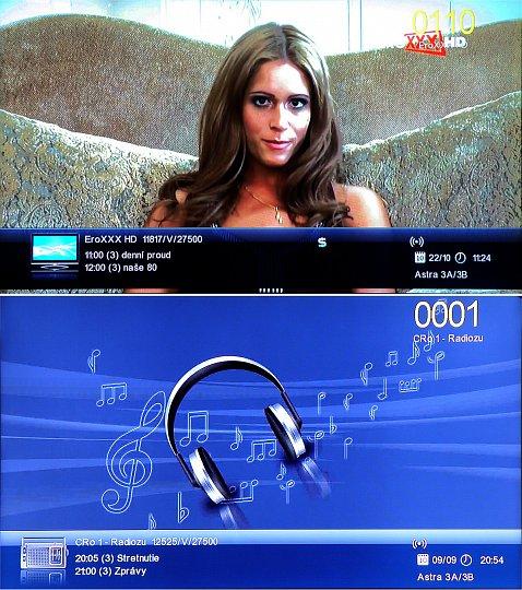 Informační lišta se zobrazí vždy při přepnutí na nový kanál, nebo ji můžete kdykoliv zobrazit pomocí tlačítka INFO. Při opětovném stisku tlačítka INFO získáte okamžitě podrobný popis sledovaného programu. Nahoře televizní, dole rozhlasový program.