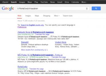 Vyhledávání v Google - navigace nahoře