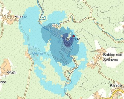 Pokrytí signálem nové Regionální sítě 15, která bude vysílat v Adamově nedaleko Blanska.