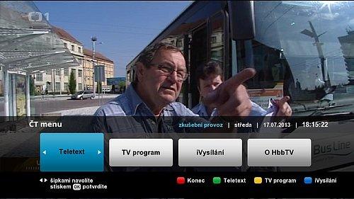 Seznam aplikací, které Česká televize nabízí v rámci HbbTV