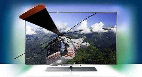 Televizor má velice tenké rámečky. Ovládání je umístěno do spodní části panelu, reproduktory v podstavci SoundStage (na snímku je ještě klasický podstavec).