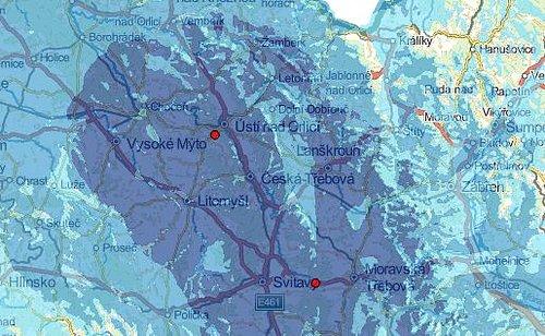 Předpokládané pokrytí Regionální sítě 7 z Ústí nad Orlicí, které vypočítal Český telekomunikační úřad.