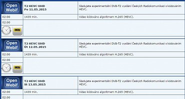 Elektronický programový průvodce DVB-T2 experimentu obsahuje stručnou textovou informaci o probíhajících zkouškách. Obrázek lze zvětšit