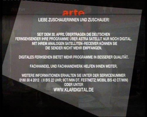 Kulturní kanál Arte přišel na satelitu Astra s vlastním oznámením o konci analogového vysílání.