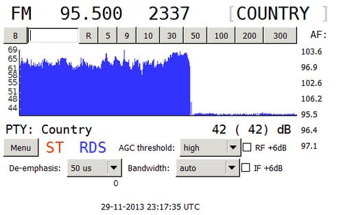 Krátce po půlnoci nahradilo rozhlasovou síť Hey! na většině kmitočtů Country Rádio. Na obrázku je vidět záznam z přijímače ještě v době, kdy zde byla pouze nosná vlna bez samotného vysílání.