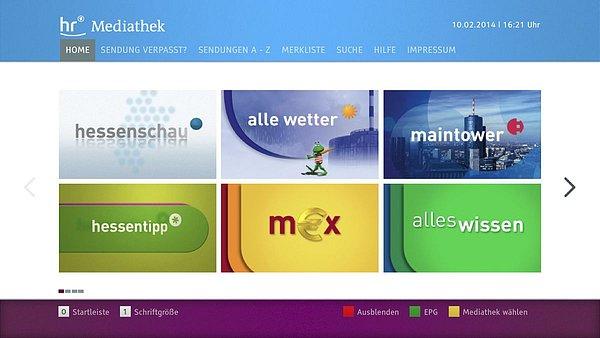 Hlavní obrazovka HbbTV aplikace hessenské veřejnoprávní televize