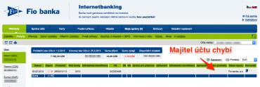Fio banka. Majitele účtu přes internetové bankkovnictví nezjistíte.