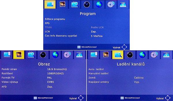 Přijímač má pro Technisat netypické menu vzhledem k tomu, že se nejedná o výrobek této firmy ale převzatou upravenou značku vyrobenou v Polsku.