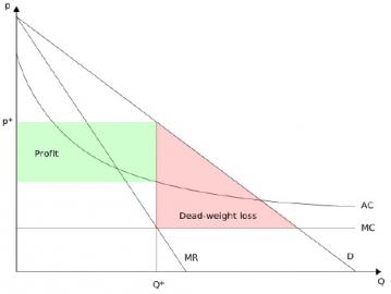 Graf 2: p - cena, Q - prodané množství, MC - mezní náklady na vyrobení jedné kopie, AC - průměrné náklady zahrnující počáteční investici rozloženou dle počtu prodaných kopií, D - poptávka závisející na ceně, MR - mezní příjem vyvažující příjem z dodatečného zákazníka a efekt snížení ceny, p* - cena kopie maximalizující zisk duševního monopolisty, Q* - prodané množství odpovídající ceně p*, Profit - zisk duševního monopolisty po odečtení mezních nákladů i počáteční investice, Dead-weight loss - náklady mrtvé váhy způsobené umělým nedostatkem