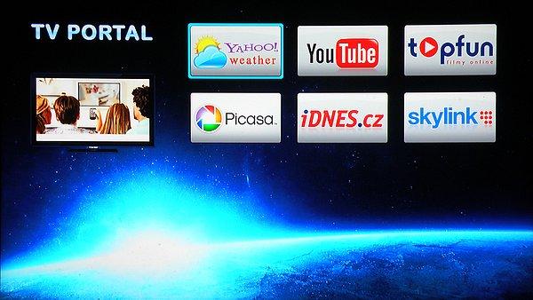 Úvodní obrazovka služby TV Portal s nabídkou