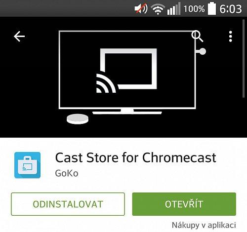 Aplikace Cast Store je dostupná v oficiálním obchodu Cast Store