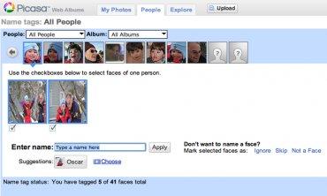 Picasa web - rozpoznávání tváří