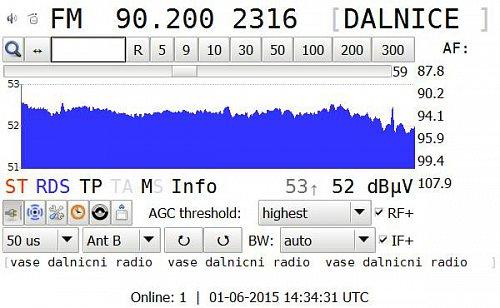 Data RDS na nově spuštěném vysílači Rádia Dálnice