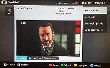 HbbTV pracovalo u České televize spolehlivě. Samozřejmě nejde o HbbTV 2.0 pro streamování ve 4K. Tady jsme stále u Full HD.