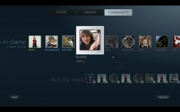 Seznam přátel na Steam Big Picture.