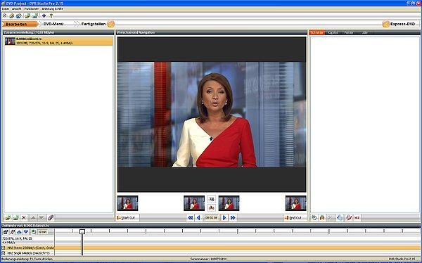 Záznam pořízený přijímačem v programu pro editaci DVR Studio Pro