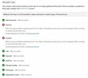 Microsoft potvrzuje prolémy služeb Hotmail a Outlook.com.