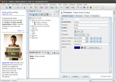 Screenshoty textových editorů pro Linux, určené hlavně pro kreativní psaní.