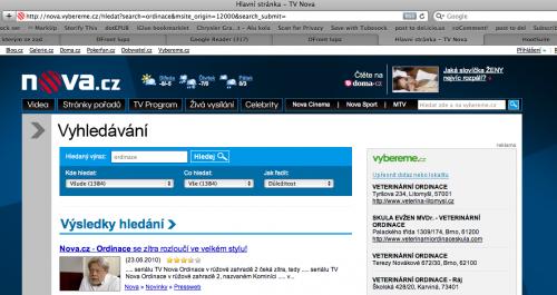 Když použijete vyhledávání na serverech Nova.cz, vždy se výsledky zobrazí v doméně Vybereme.cz, což je samostatný projekt. Takhle vypadají výsledky vyhledávání