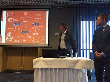 Představování investiční strategie Cyrrusu v Ostravě. Zleva David Hercig, ředitel pobočky