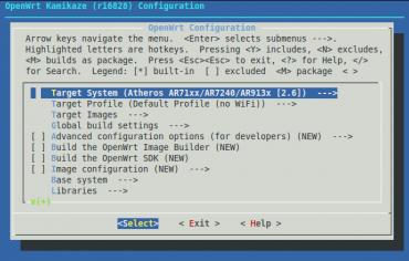 OpenWRT konfigurační menu