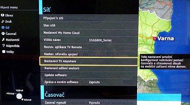 V menu části TV Anywhere sice tuto funkci nastavíte, ale následně zjistíte, že musíte být přihlášení k serveru výrobce, a to se mi z Česka stále nedaří (je to prý v řešení).