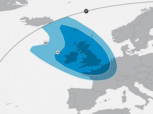 Pokrytí signálem satelitu Astra 2F, který přebere od Astry 1N vysílání britských programů BBC, ITV a dalších.