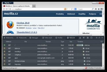Síťový přehled - Firefox 23