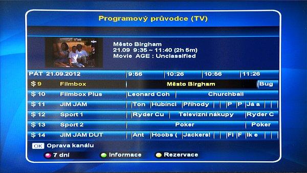 Sedmidenní programový průvodce EPG jehož prostřednictvím si můžete zobrazit nejen programy a jejich podrobný popis, ale také programovat nahrávání zvolených pořadů.