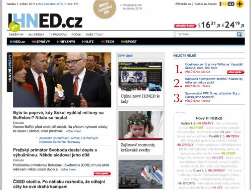 Titulní stránka iHned.cz 1.5.2011