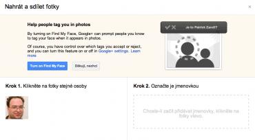 Rozpoznávání tváře v Google+