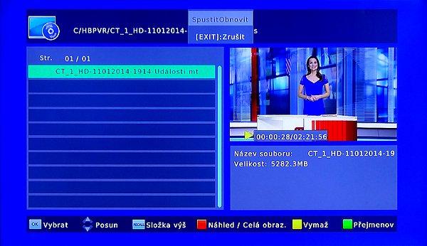 Menu nahrávek s náhledem videa ve zmenšeném okně. Celoobrazovkový režim spustíme stiskem červeného tlačítka.