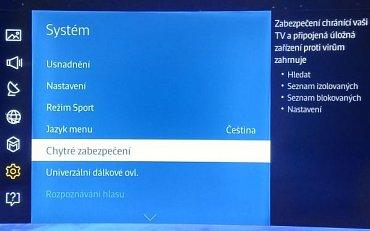 U televizoru Samsung UE55JU7502 z roku 2015/16, narazíte na takovéto menu zabezpečení. Jak bude vypadat to letošní, bude známo nejspíše už za pár dnů.