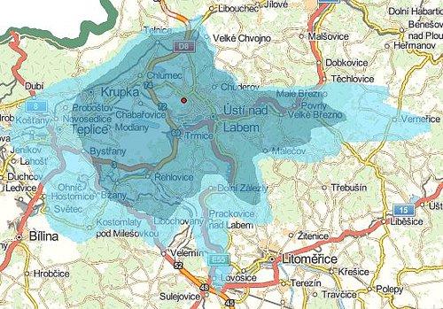 Předpokládané pokrytí signálem digitálního rozhlasu v Ústí nad Labem vypočtené Českým telekomunikačním úřadem.