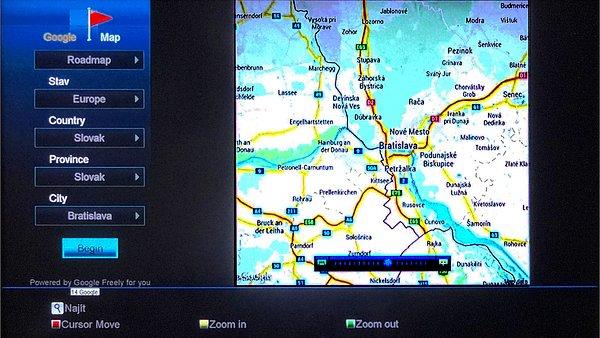 Můžete si zobrazit i mapy některých států a měst. Mapy můžete posouvat, zvětšovat i zmenšovat.