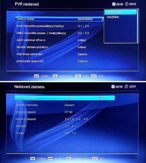 Pro nahrávání máme k dispozici mnoho nastavení (horní obrázek) a pro kontrolu zadání se zobrazí i okno s nastavenými parametry (dole).