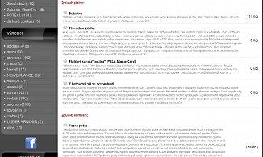 A3sport.cz zatěžuje zákazníka přemírou informací o způsobech platby a doručení.