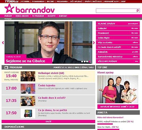 Webová prezentace, kterou používá TV Barrandov aktuálně